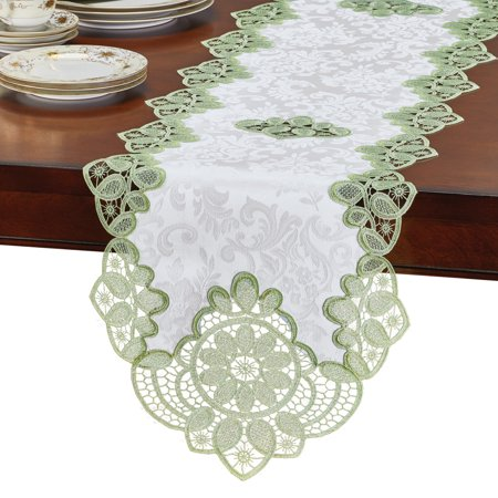 Adorning Crochet Lace Table Topper - Beautiful Crochet Lace Details, Elegant Brocade Background - Machine Washable - Polyester