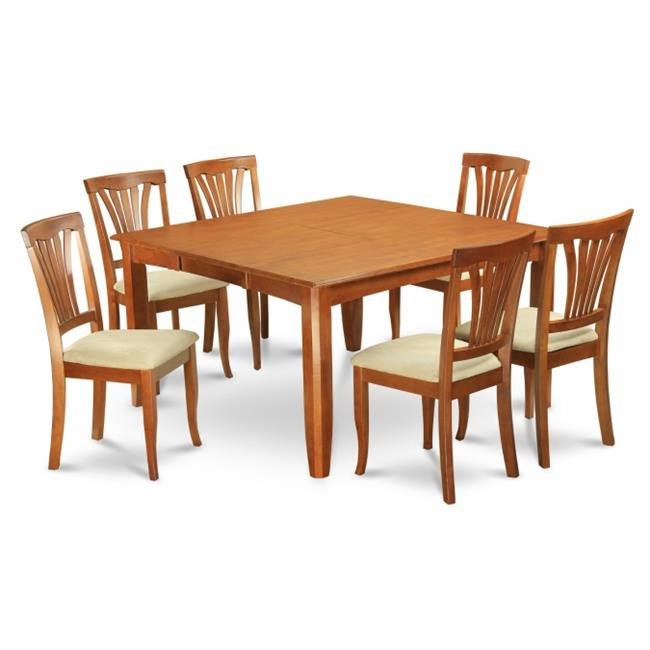 Wooden Imports Furniture PFAV9-SBR-C 9PC Parfait Square Table with 18''Butterfly Leaf & 8 Microfiber upholstered Seat Chairs in Saddle Brown Finish