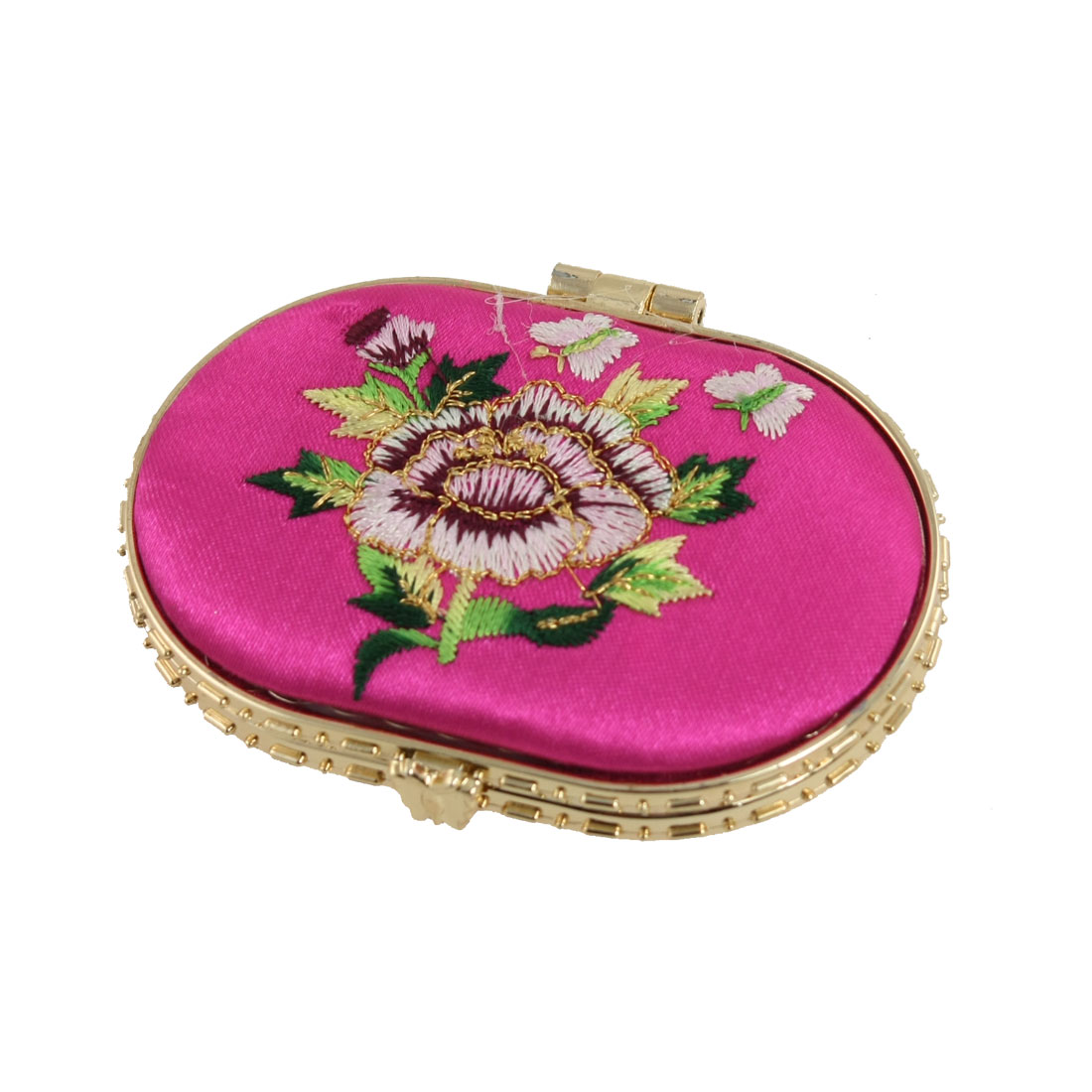 Foldable Ellipse Style Double Side Padded Makeup Compact Mirror Fuchsia