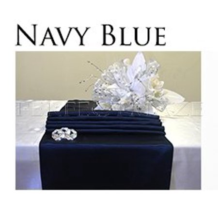 Perfectmaze 12 X108 Inch Satin Table Runner Wedding Party Decoration 20 Colors Navy Blue