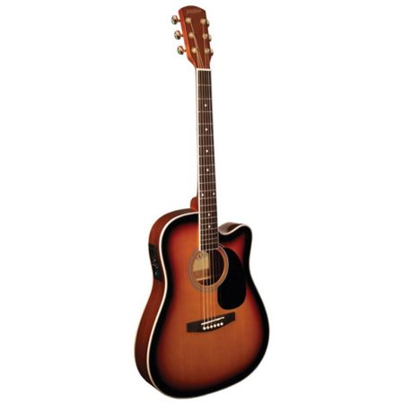 Indiana I-TB2VB Thin Body Acoustic Electric Guitar, Vintage Burst