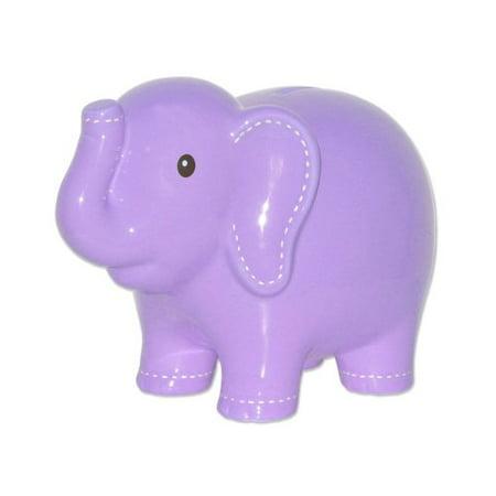 Child to Cherish Large Stitched Elephant Bank, Lavender Multi-Colored