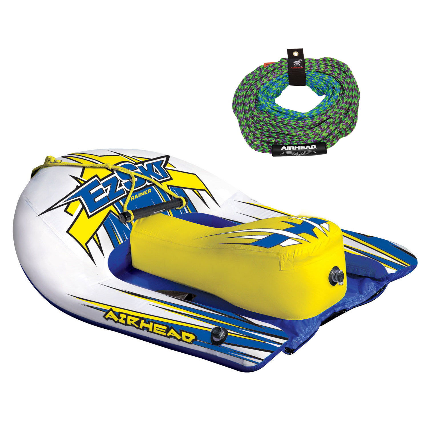 Airhead AHEZ-100 EZ Ski Inflatable Trainer Kids Single Skier Tube with Tow Rope by Kwik Tek
