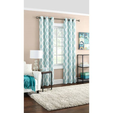 Mainstays Geometric Textured Grommet Top Window Curtain Panel