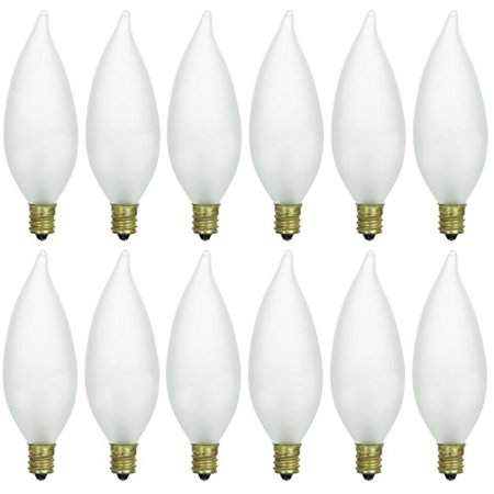 Pack of 12 25 Watt CFF Candelabra Base Frosted Flame Tip Shaped Incandescent Chandelier Light Bulb Candelabra Base Miniature Light Bulb