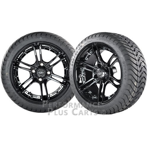 """Mirage 14"""" Black w/ Colored Inserts Golf Cart Wheels w/ Low Profile Street Tires"""