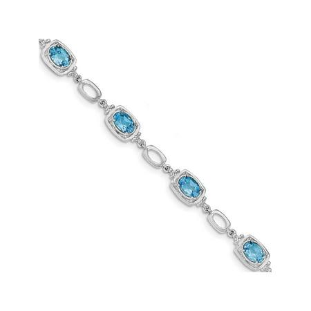 925 Sterling Silver Rhodium-plated Light Swiss Blue Topaz Link Bracelet - image 2 of 2