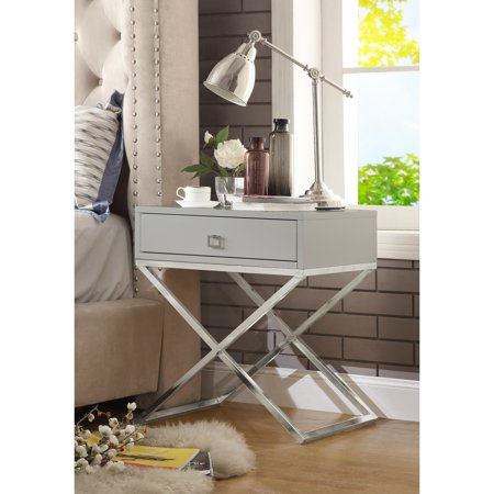 Inspired Side Table - Lesley Light Grey Lacquer Finish Nightstand - Chrome Legs | Steel Base | Side Table | Modern | by Inspired Home