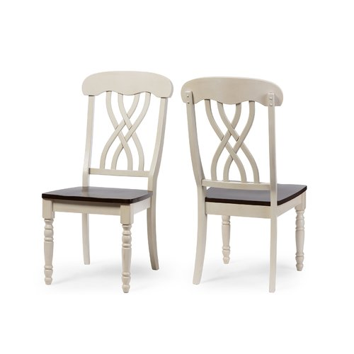 Baxton Studio Newman Chic Country Cottage Antique Oak Wood and Distressed White Dining Side Chair, Set of 2