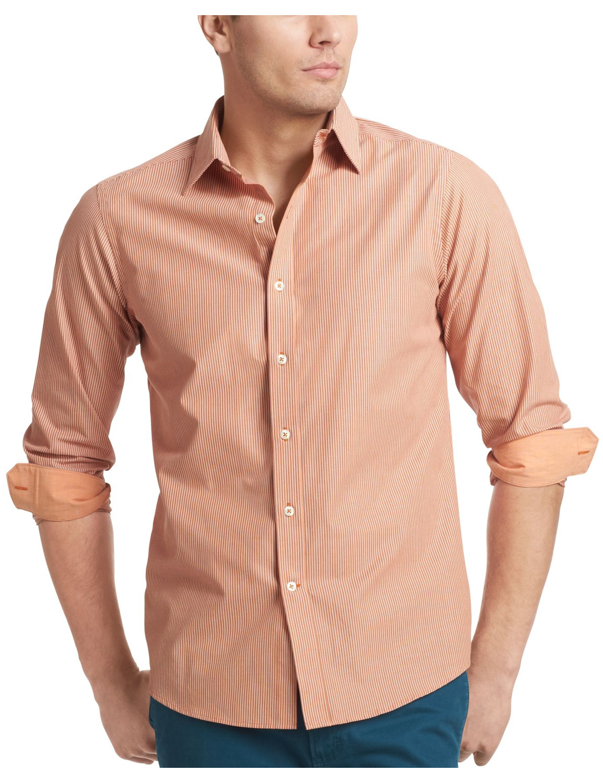 Izod Izod Essentials Slim Fit Striped Shirt Apricot Orange X Large