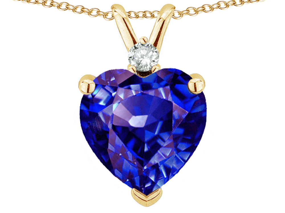 Star K 8mm Simulated Tanzanite Heart Pendant Necklace in 14 kt Yellow Gold by