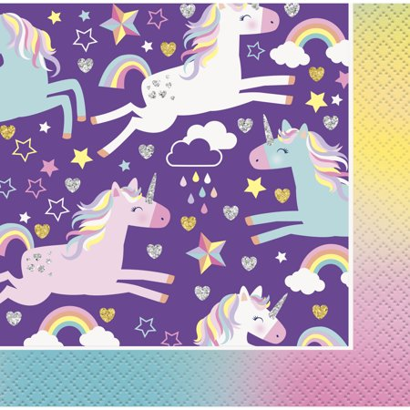 Unicorn Paper Beverage Napkins, 5in, 16ct