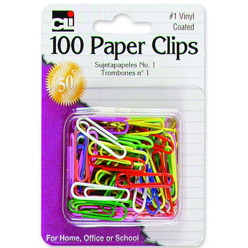 Charles Leonard Co. Paper Clips, No. 1, Vinyl, Rust-resistant, 100/CD, Assorted (Set of 6)