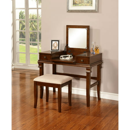 Linon Angela Vanity Set with Mirror and Stool, Walnut Finish