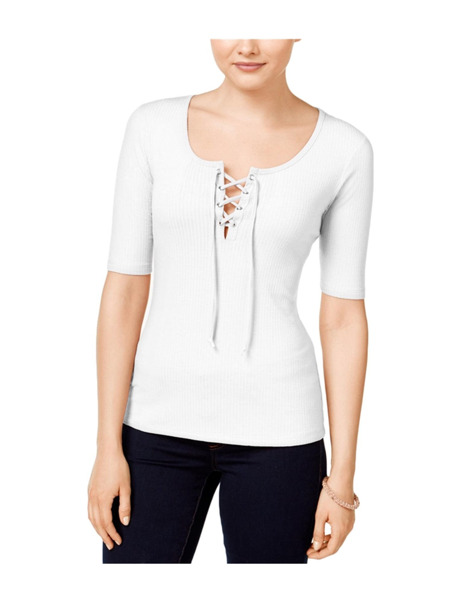 Ultra Flirt Womens Rib-Knit lace-Up Graphic T-Shirt oathea XL - Juniors ac3a26d5d