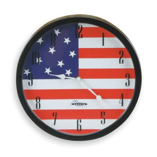 2CHY3 Analog Clock, US Flag, 14-3/8