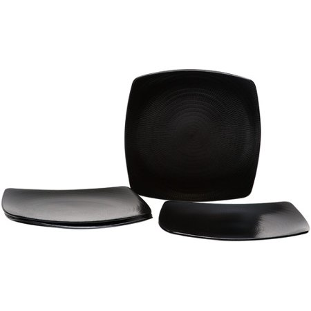 Red Vanilla Rice Square Dinner Plate (Set of 4) - Black Square Plates