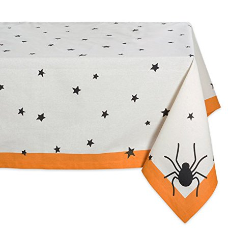 Dii 60X84  Rectangular Cotton Tablecloth  Black Stars   Perfect For Halloween  Dinner Parties And Scary Movie Nights
