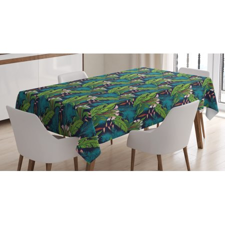Leaf Tablecloth, Tropical Jungle Palm Tree Banana Leaves Frangipani Heliconia on a Dark Blue Background, Rectangular Table Cover for Dining Room Kitchen, 60 X 84 Inches, Multicolor, by Ambesonne](Tropical Tablecloth)