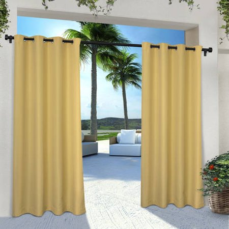 (Indoor/Outdoor Solid Cabana Grommet Top Window Curtain Panel Pair)