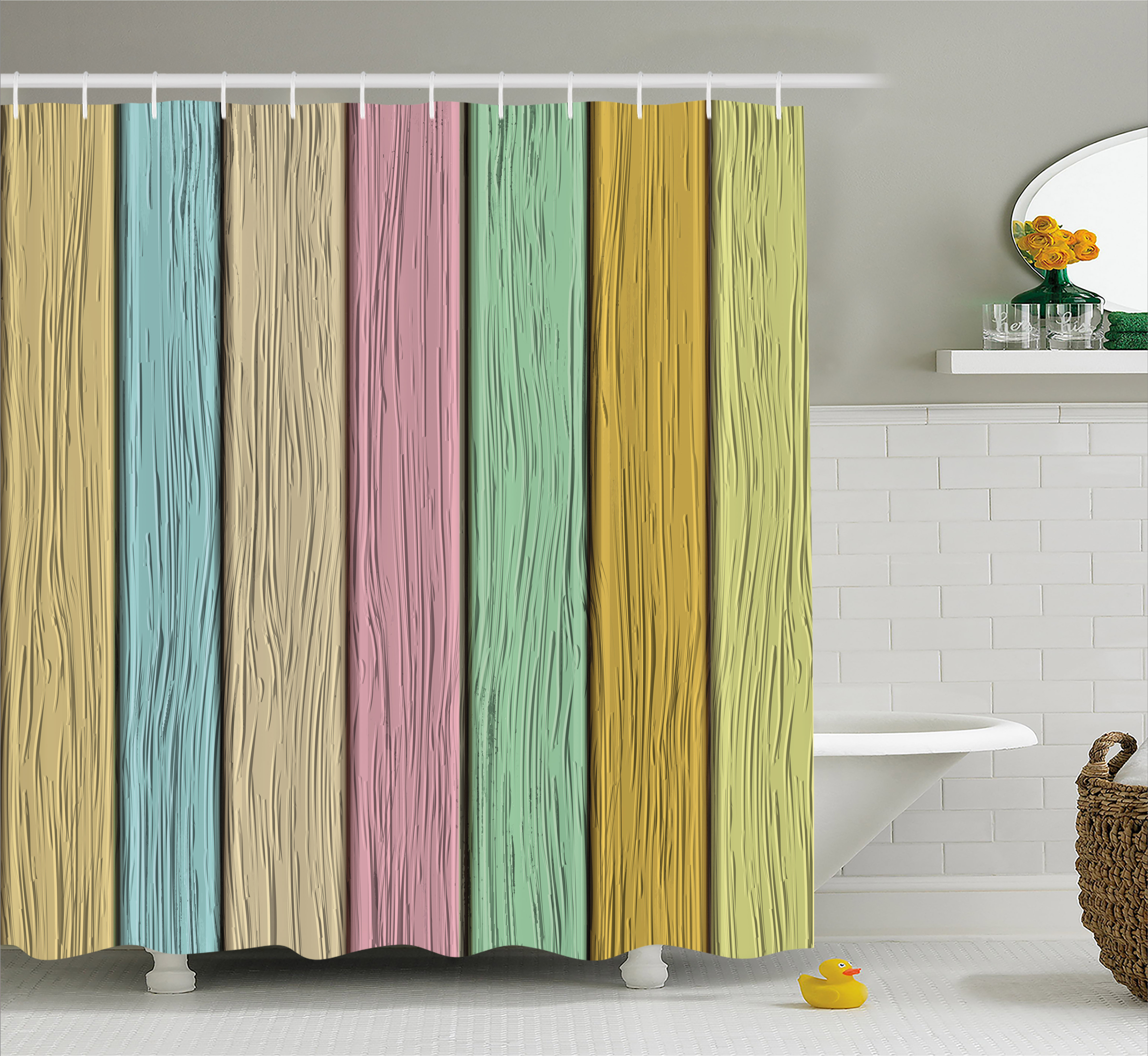 Pastel Shower Curtain, Colorful Old Wooden Planks Timber Texture Rustic Farmhouse Country Home Decor Print, Fabric Bathroom Set with Hooks, 69W X 70L Inches, Multicolor, by Ambesonne
