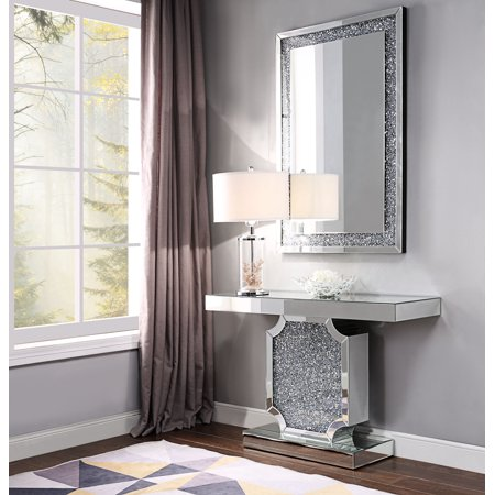 Acme Noralie Console Table in Mirrored and Faux Diamonds](Mirror Table)