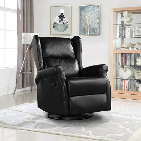 Reclining Swivel Accent Chair for Living Room, Faux Leather Arm Chair  (Black)
