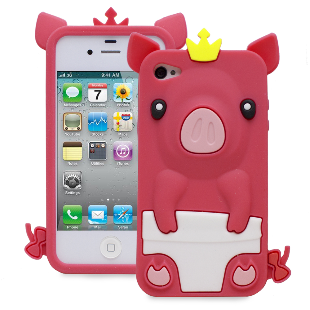 Fosmon 3D Pink Pig Silicone Protector Case for Apple iPhone 4S / 4 (Hot Pink)