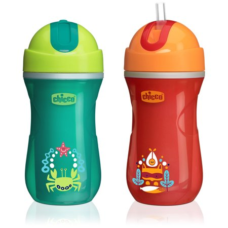 Chicco Insulated No Spill Flip-Top Straw Sippy Cup 12M+, 9oz Orange/Teal