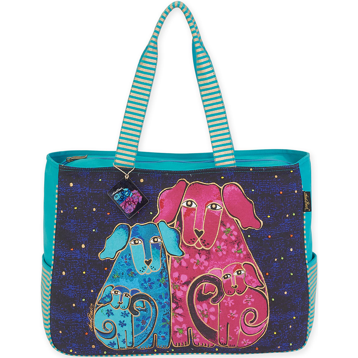"Oversized Tote 20""X6""X15.5""-Blossoming Pups"