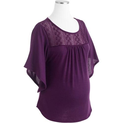 Planet Motherhood Maternity Crochet Flutter-Sleeve Top