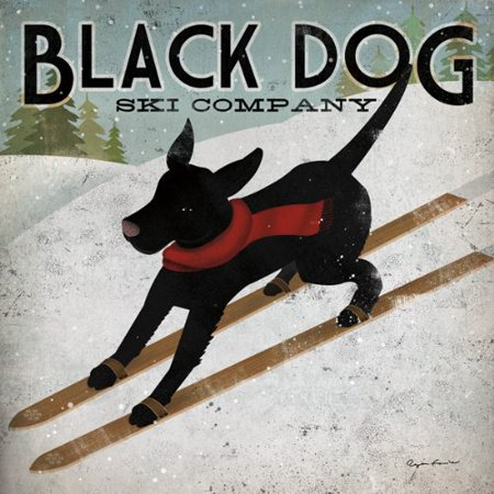 Black Dog Ski Ryan Fowler Skiing Sign Dog Lab Animals Print Poster 12x12..., By Picture Peddler Ship from US