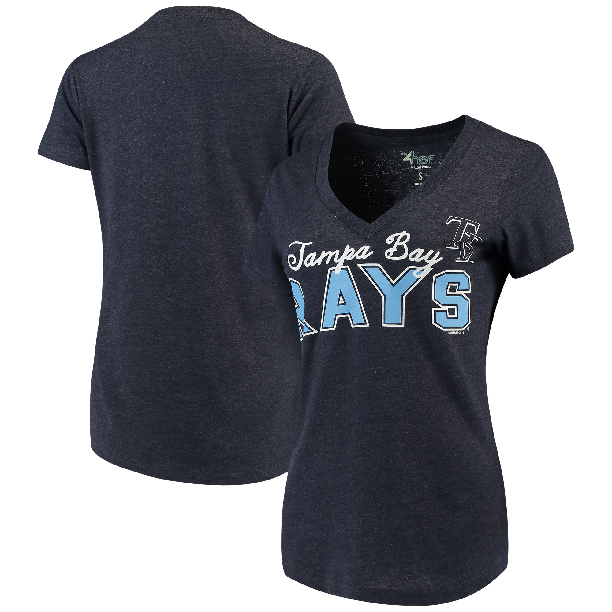 Tampa Bay Rays G-III 4Her by Carl Banks Women's Home Run V-Neck T-Shirt - Navy