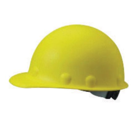 Fibre-Metal by Honeywell Yellow Roughneck Fiberglass Cap Style Hard Hat With SuperEight 8 Point Ratchet Suspension