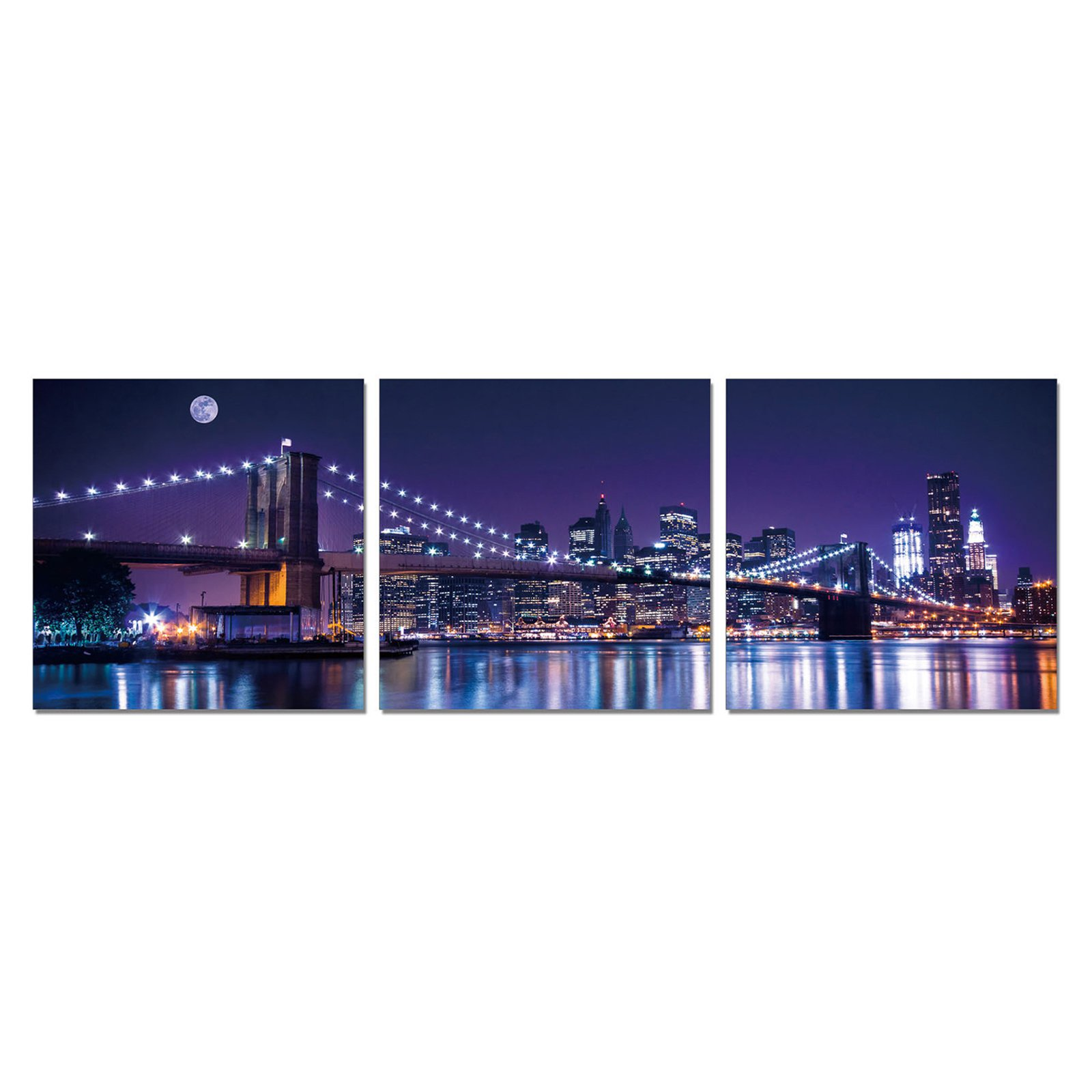Furinno SeniA NYC The City Never Sleeps 3-Panel MDF Framed Photography Triptych Print, 48 x 16-in