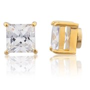 Goldtone with Clear Cz Square Magnetic Stud Earrings - 8mm to 12mm Available (8mm)