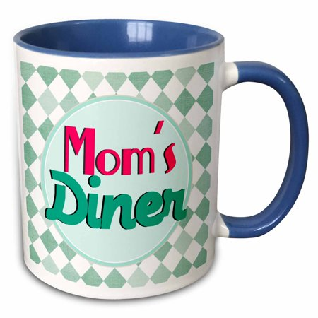 3dRose Moms Diner on aqua. Retro hot pink turquoise teal blue 1950s style 50s fifties kitchen Mothers day - Two Tone Blue Mug, 11-ounce - 1950s Diner Decor