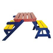 Multi-functional Kids Picnic Table Set Picnic Bench, YOFE Wood Kids Table and Chairs for Boy Girl, Toddler Kid Bench Table for Birthday Gift, Colorful Outdoor Table (2 Seats), D4140