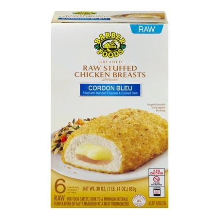 Barber Foods Breaded Raw Stuffed Chicken Breasts Cordon Bleu 6 Ct