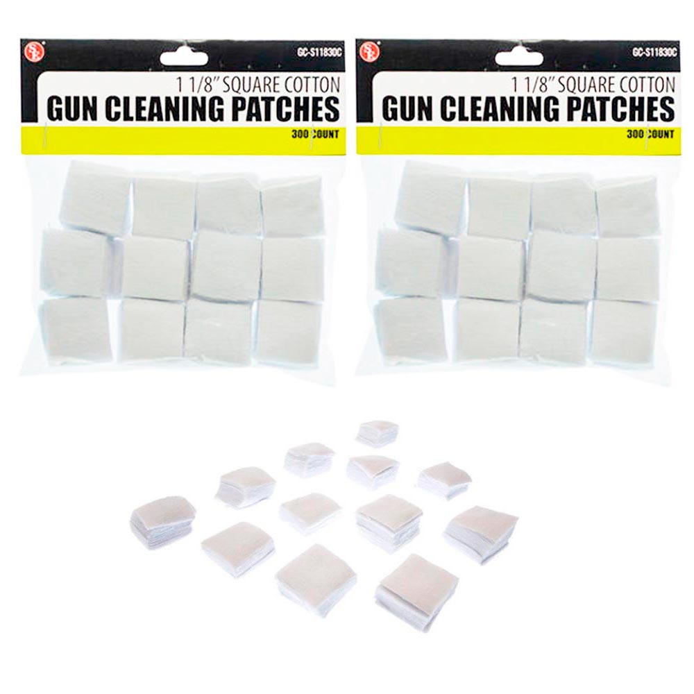 "600 Cotton Gun Cleaning Patches 1 1/8"" Square Patch Wipes Firearm Maintenance"