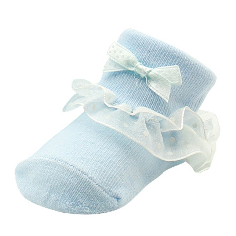 ONES Newborn Infant Baby Girls Princess Bowknot Lace Ruffle Frilly Trim Ankle Sock