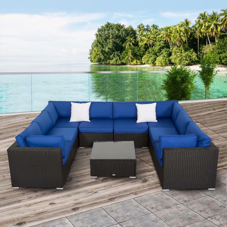 Kinbor 9pcs Outdoor Patio Furniture Sectional Pe Wicker Rattan Sofa Set Blue