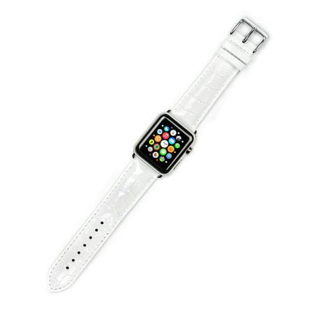Apple Watch Strap - Crocodile Grain Watch Band - White - Fits 42mm Series 1 & 2 Apple Watch [Silver (Crocodile Wrist Watch Strap Band)