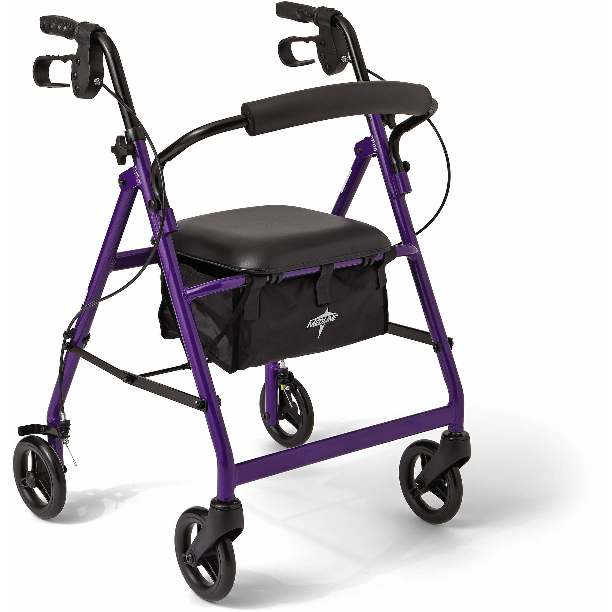 "Medline Aluminum Foldable Rollator Walker with 6"" Wheels, Purple"