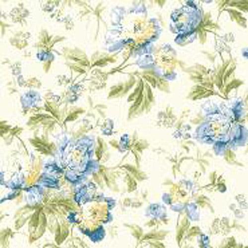 Waverly Classics Forever Yours Wallpaper, Eggshell/Gray Blue/Cobalt Blue/Sage/Amber/Butter/Willow Green/Grass Green