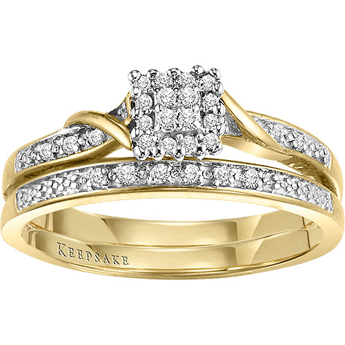 Keepsake Glamour 1/8 Carat T.W. Diamond Bridal Set in 10kt Yellow Gold