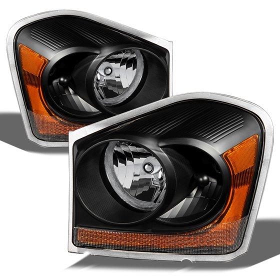 Fit 04 05 Dodge Durango Black Replacement Headlights Headlamps L R 2004 2005