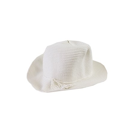 August Hat White Classical Toyo Fedora Hat OS Toyo Fedora Hat
