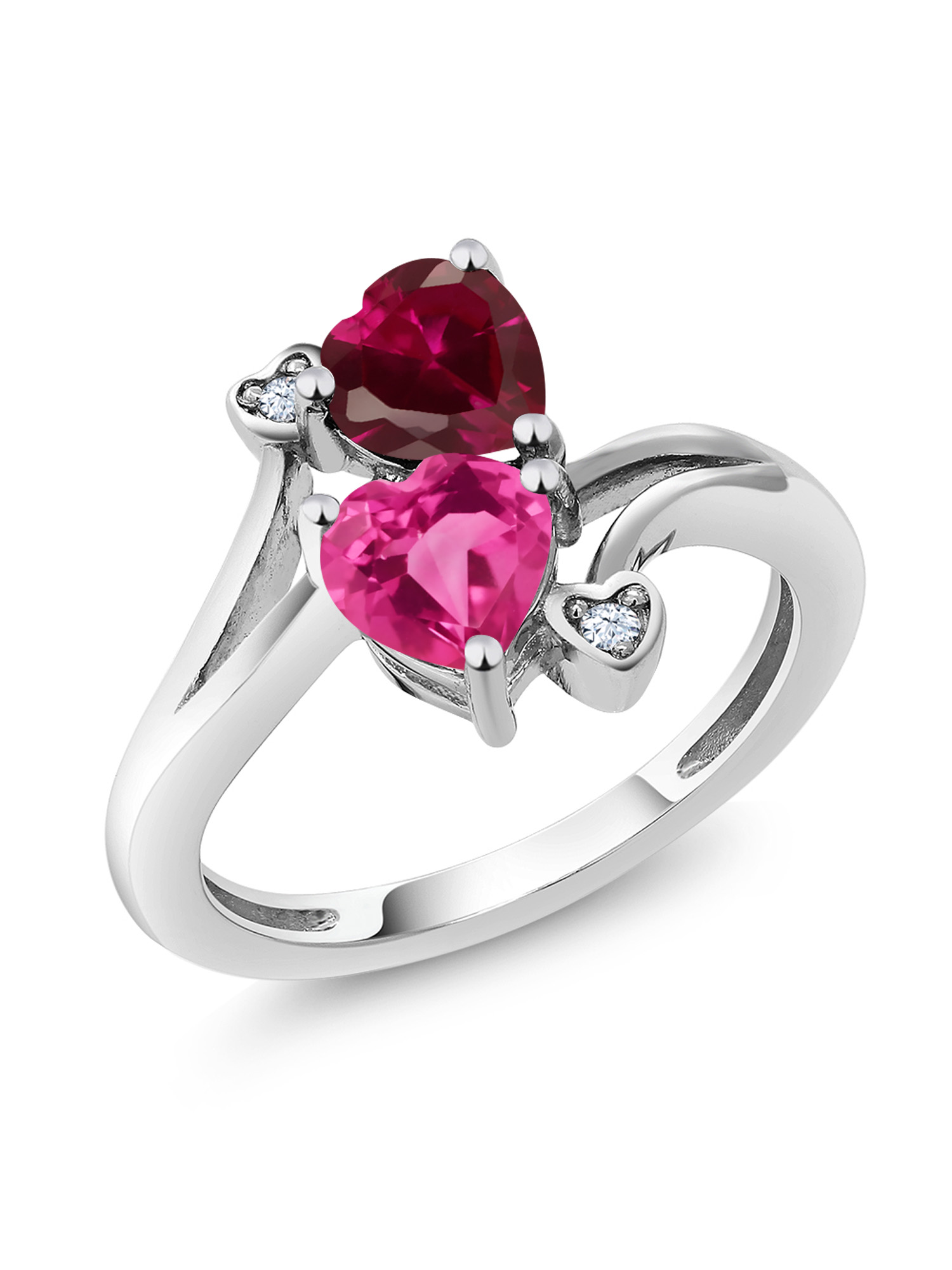 1.79 Ct Heart Shape Pink Created Sapphire Red Created Ruby 10K White Gold Ring by