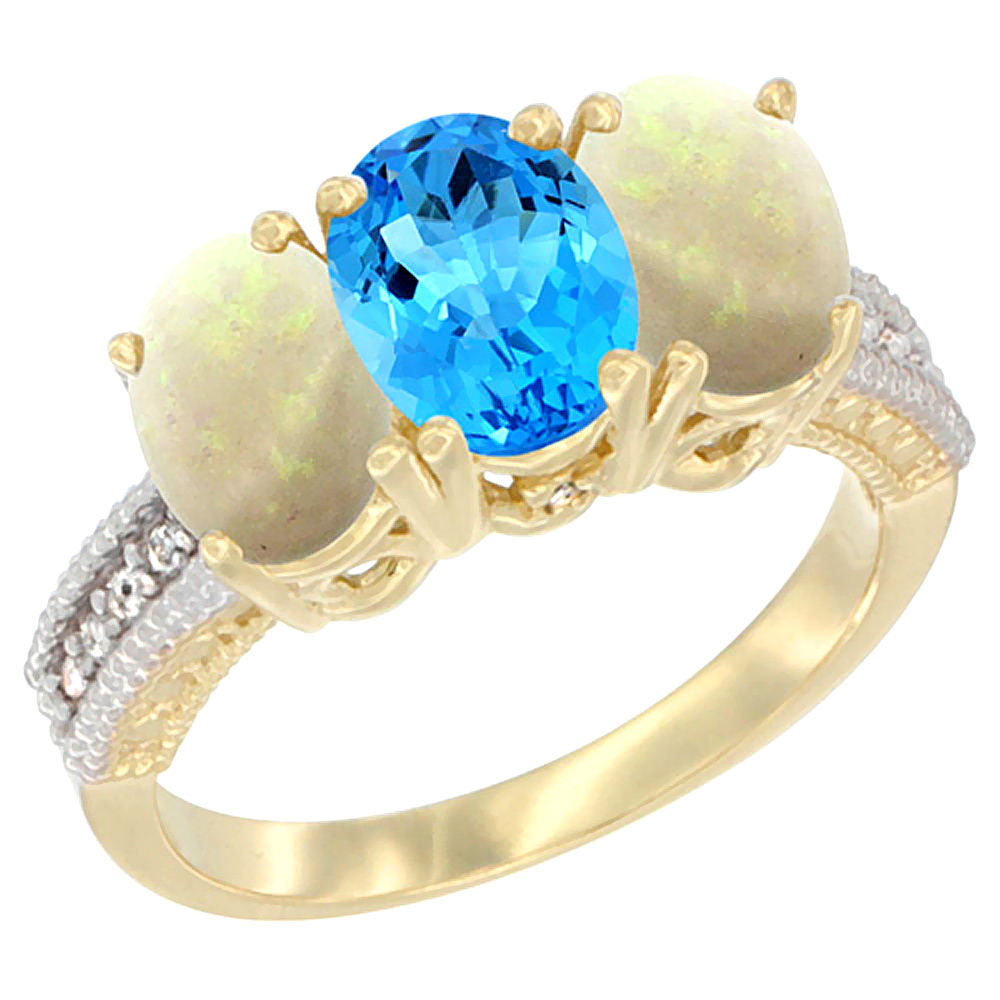 14K Yellow Gold Natural Swiss Blue Topaz & Opal Sides Ring 3-Stone 7x5 mm Oval Diamond Accent, sizes 5 10 by WorldJewels